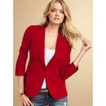 Red draped pocket blazer6