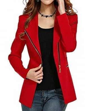 Red draped pocket blazer5